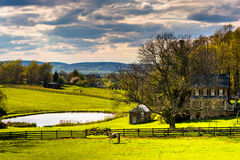 池塘和房子一个农场的在农村约克县,宾夕法尼亚 库存图片
