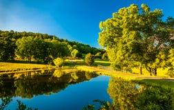池塘和车道对一个农场在雪伦多亚河谷,弗吉尼亚 库存图片