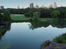 池塘和领域在中央公园 库存照片
