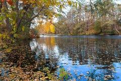 池塘在一个五颜六色的秋天公园 免版税库存图片