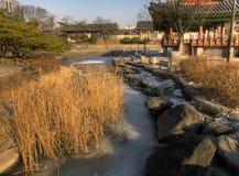 冻池塘在冬天,汉城,韩国 免版税库存图片