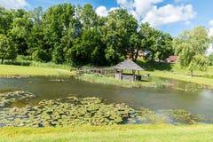 池塘在村庄 免版税图库摄影