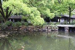 池塘在湖南大学校园里  库存图片