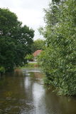 池塘在镇里伯 免版税库存图片