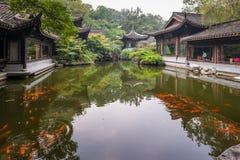 池塘在经典中国庭院,杭州里 库存图片