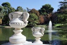 池塘在Retiro公园,马德里 库存照片