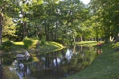 池塘在Westmount,蒙特利尔,魁北克,加拿大 免版税库存照片