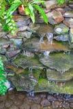 池塘瀑布自温室 免版税图库摄影