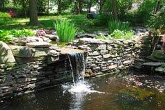 池塘瀑布 库存图片