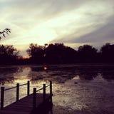 池塘的船坞 库存照片