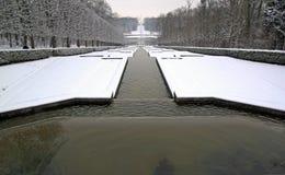 池塘透视在雪下的 免版税库存照片