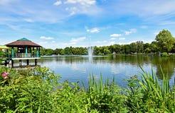 池塘` Schlossteich `在开姆尼茨德国 图库摄影