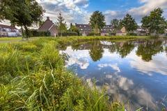 池塘Eco友好的银行在公园 免版税库存照片
