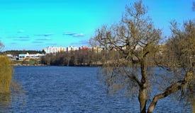 池塘Vajgar在因德日赫城堡,捷克 库存图片
