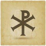 池氏希腊字母的第17字基督徒标志葡萄酒背景 库存例证