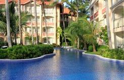 池热带手段的游泳 免版税库存照片