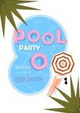 池边聚会海报 也corel凹道例证向量 池边聚会邀请用水,桃红色浮游物,沙滩伞,棕榈,性感的femele腿 免版税库存照片