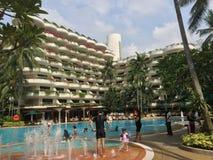 水池边,香格里拉旅馆,新加坡 免版税图库摄影