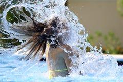 池飞溅水 免版税库存照片