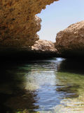 池水在开放地质镇压内的在地震造成的土地 免版税库存图片