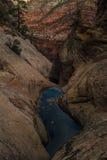 池水近暗藏的峡谷在锡安国家公园 图库摄影