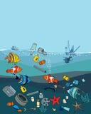 水污染在海洋 垃圾和废物 库存例证