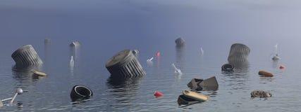 污染在海洋- 3D回报 免版税库存图片