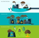 污染横幅集合 免版税图库摄影