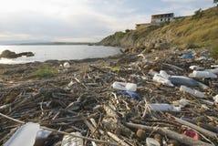 污染海边 库存图片