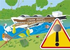 污染的河 库存照片