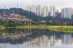 污染Pinheiros河 免版税库存照片