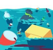 污水 有垃圾和塑料的鱼肮脏的河 淡水污染传染媒介概念 皇族释放例证