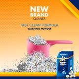 污点和土去膜剂广告横幅搽粉干净和新鲜的布料的洗涤剂 向量例证