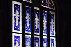 污迹玻璃窗在圣约翰修道院里先行者 免版税库存照片
