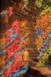 污迹玻璃窗摘要样式,古德里奇城堡, Herefordshire 库存图片