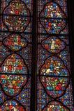 污迹玻璃窗细节在哥特式Sainte-Chapelle教会的在巴黎 库存照片