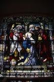 污迹玻璃窗三位一体教会,魁北克市 免版税库存图片