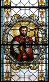 污迹玻璃窗在圣尼古拉斯大教堂里在新梅斯托,斯洛文尼亚 免版税库存图片