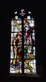 污迹玻璃窗在圣马丁教会里 库存图片