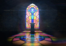 污迹玻璃窗教会 库存图片