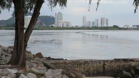 从污水系统的下水道水涌入海直接地城市沿海岸区的 股票视频