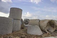 污水的具体管子 免版税库存图片