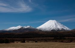 汤加里罗和Ngauruhoe/登上死命在北岛在鲁阿佩胡山附近在新西兰在雪盖了 免版税库存照片