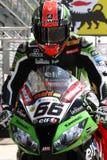 汤姆川崎ZX-10R川崎赛跑的队超级摩托车的WSBK赛克斯#66 库存照片