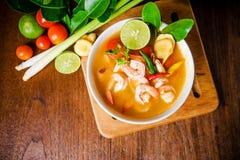 汤姆薯类kong或汤姆汤 泰国的食物 免版税库存照片