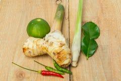 汤姆辣汤传统泰国食物cuis草本成份  免版税库存照片