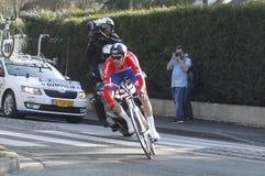 汤姆Dumoulin骑自行车者荷兰语 免版税库存照片