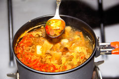 汤用在平底锅的蘑菇 库存照片