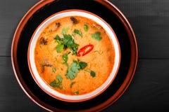 汤用在碗的肉用牛至、胡椒和菜在黑暗的木背景 免版税图库摄影