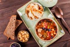 汤用在碗的肉用牛至、胡椒和菜在黑暗的木背景 免版税库存图片